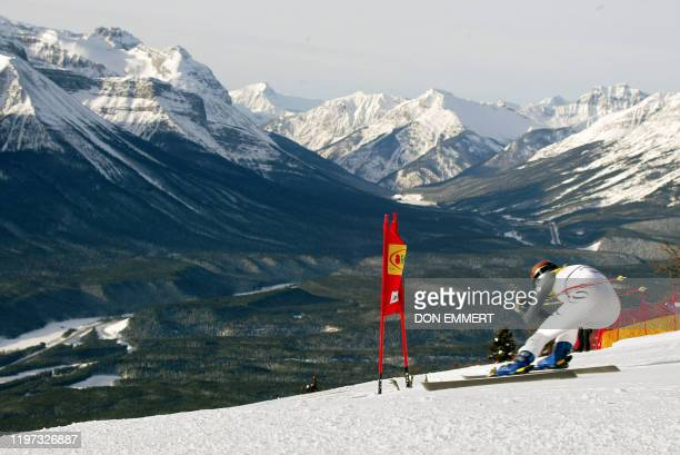 Germany's Maria Riesch skis the course during her training run for the women's World Cup Downhill 04 December, 2003 in Lake Louise. Reisch had the...
