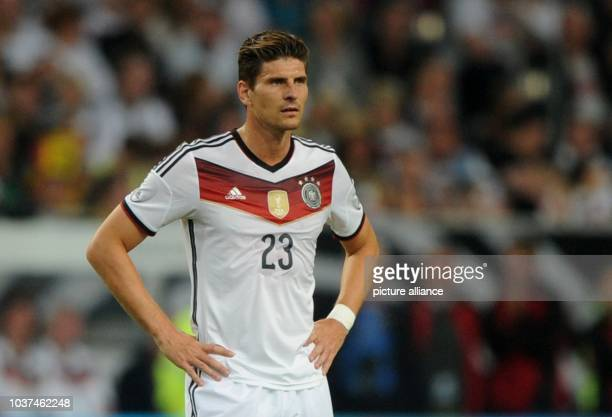 Germany's Mario Gomez captured during the international match between Germany vs Argentina at Esprit arena in Duesseldorf Germany 03 September 2014...