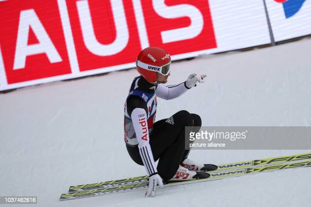 Germany's Markus Eisenbichler after his jump from the Bergisel ski jump in the men's 1st run at the Four Hills Tournament ski jumping World Cup in...