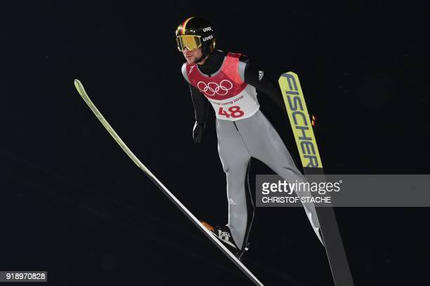 Germany's Markus Eisenbichler competes in the men's large hill individual ski jumping qualifying event during the Pyeongchang 2018 Winter Olympic...