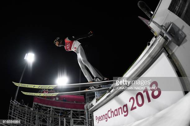 Germany's Markus Eisenbichler competes in the men's normal hill individual ski jumping event during the Pyeongchang 2018 Winter Olympic Games on...