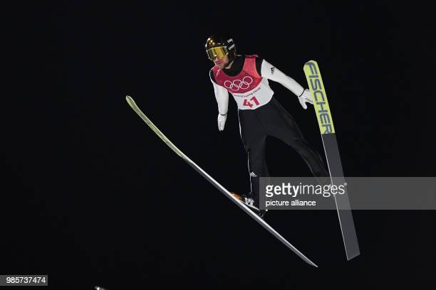 Germany's Markus Eisenbichler competes in the men's normal hill individual ski jumping competition on day one of the Pyeongchang 2018 Winter Olympics...