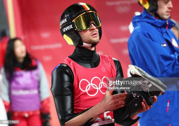 Germany's Markus Eisenbichler during training for the ski jumping large hill individual event of the 2018 Winter Olympics at the Alpensia Ski Jump...