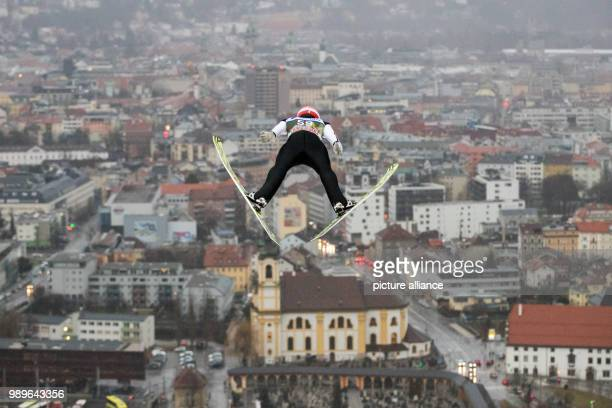Germany's Markus Eisenbichler in action during the qualification run at the Four Hills Tournament in Innsbruck Austria 03 January 2018 Photo Daniel...