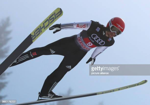 Germany's Markus Eisenbichler performs his trial jump at the Four Hills Tournament in Bischofshofen Austria 6 January 2018 Photo Daniel Karmann/dpa