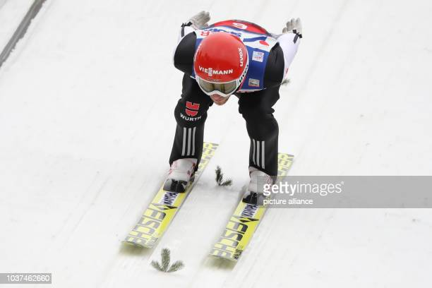 Germany's Markus Eisenbichler rides in a trial run from the Bergisel ski jump at the Four Hills Tournament ski jumping world cup in Innsbruck Austria...