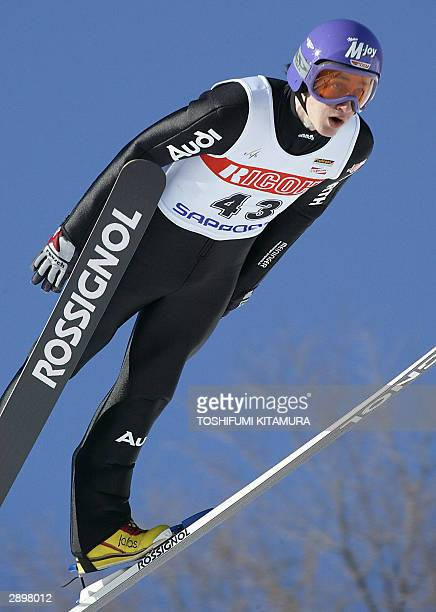 Germany's Martin Schmitt soars into the air in his first 125.5-metre jump during the FIS World Cup Ski-Jumping in Sapporo, 25 January 2004. Schmitt...