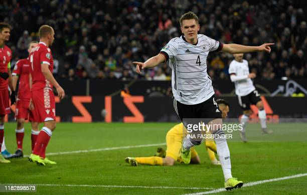 Germany's Matthias Ginter celebrates after his team scored during the UEFA Euro 2020 Group C qualification football match between Germany and Belarus...