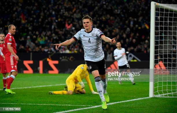 Germany's Matthias Ginter celebrates after scoring a goal during the UEFA Euro 2020 Group C qualification football match between Germany and Belarus...