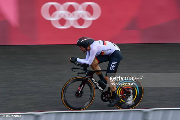 Germany's Maximilian Schachmann competes in the men's cycling road individual time trial during the Tokyo 2020 Olympic Games at the Fuji...
