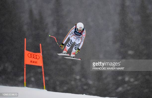 TOPSHOT Germany's Meike Pfister competes during the Women's Combined Downhill event of the 2019 FIS Alpine Ski World Championships at the National...