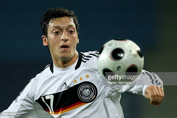 Germany's Mesut Oezil in action during the UEFA U21 Championship Playoff Match between Germany and France at the stadium Magdeburg on October 10 2008...