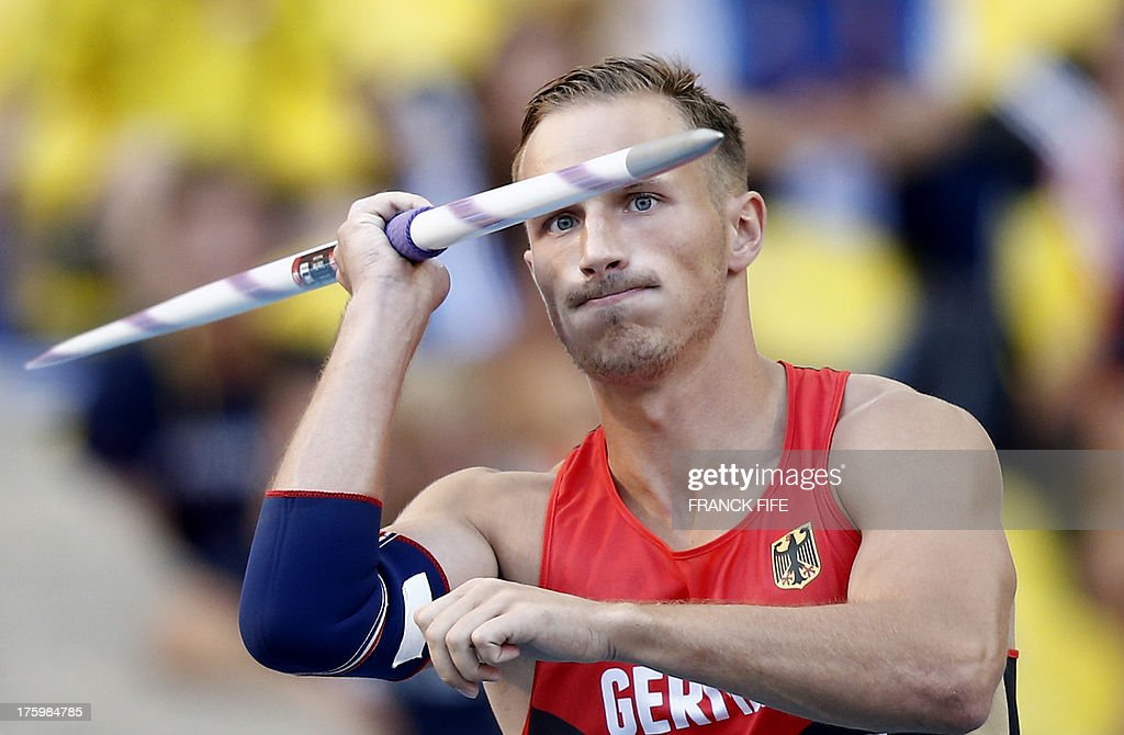 Germany's Michael Schrader competes during the men's decathlon javelin throw event at the 2013 IAAF World Championships at the Luzhniki stadium in Moscow on August 11, 2013.
