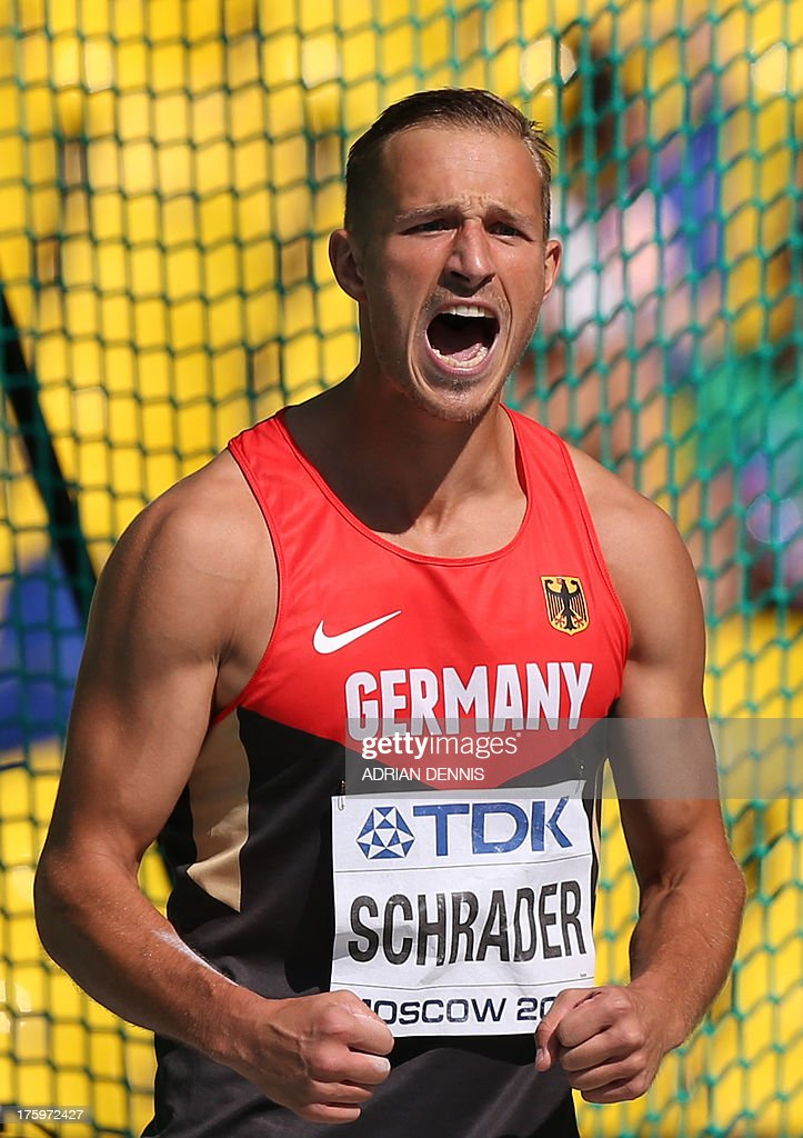 Germany's Michael Schrader reacts during the men's decathlon discus throw event at the 2013 IAAF World Championships at the Luzhniki stadium in Moscow on August 11, 2013.