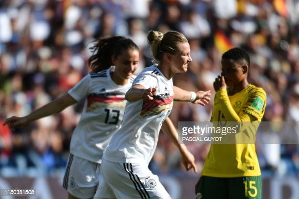 Germany's midfielder Alexandra Popp celebrates after scoring a goal during the France 2019 Women's World Cup Group B football match between South...