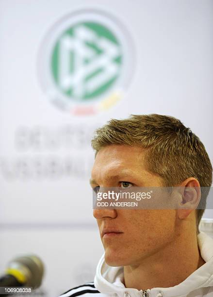 Germany's midfielder Bastian Schweinsteiger addresses a press conference in Gothenburg on November 16 one day before Germany will face Sweden in an...