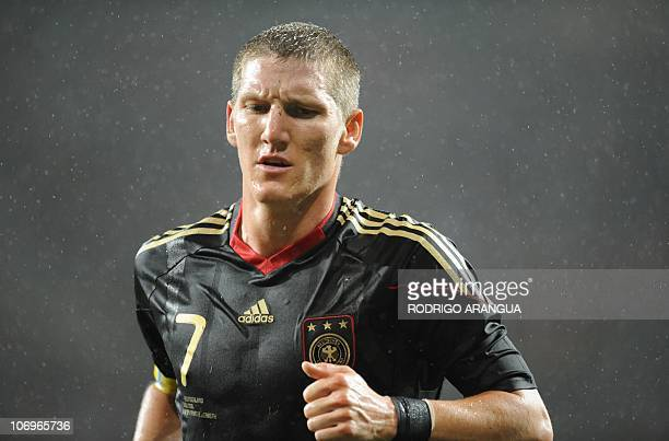Germany's midfielder Bastian Schweinsteiger reacts after failing to score during the 2010 World Cup third place football match Uruguay vs Germany on...