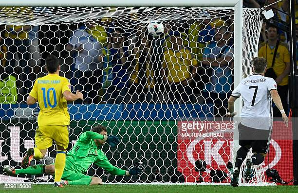 TOPSHOT Germany's midfielder Bastian Schweinsteiger scores a goal during the Euro 2016 group C football match between Germany and Ukraine at the...