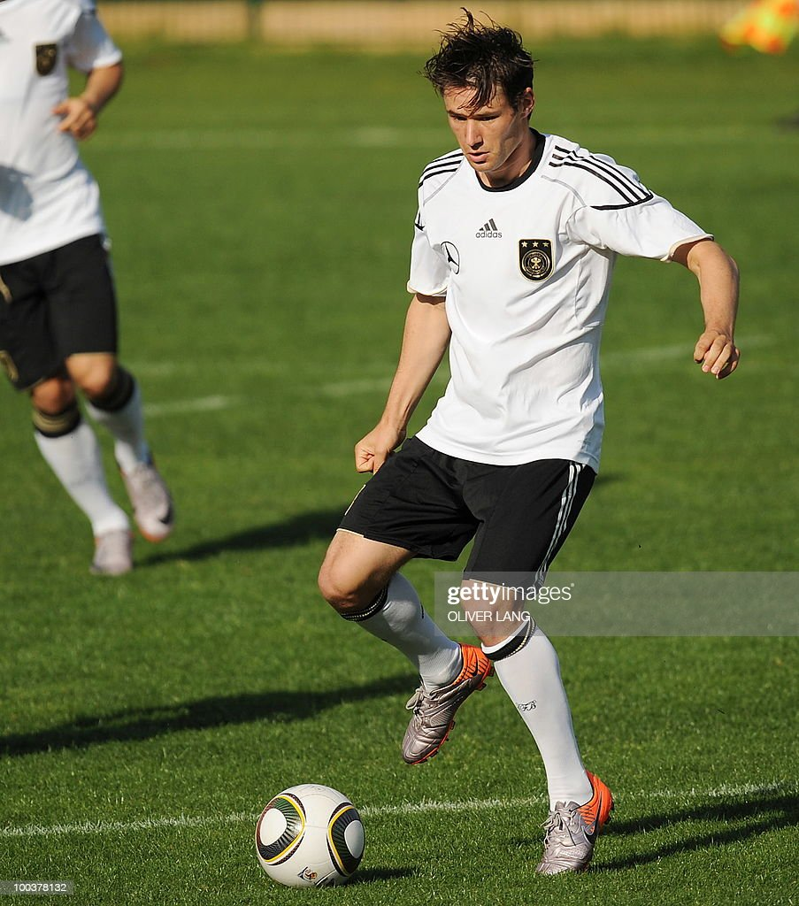 Germany's midfielder Christian Traesch controls the ball during a training match against Sued Tyrol FC at the team's training centre in Appiano, near the north Italian city of Bolzano May 24, 2010. The German football team is currently taking part in a 12-day training camp in Appiano to prepare for the upcoming FIFA Football World Cup in South Africa.