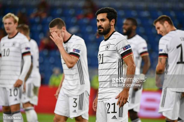 Germany's midfielder Ilkay Gundogan looks on during the UEFA Nations League, league A, day 2, group 4 football match between Switzerland and Germany...