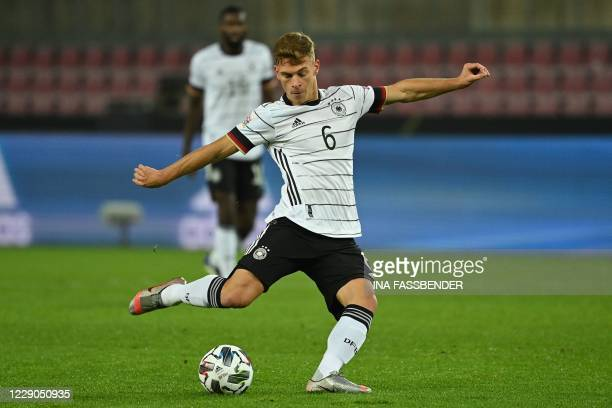 Germany's midfielder Joshua Kimmich plays the ball during the UEFA Nations League football match Germany v Switzerland in Cologne, Western Germany,...