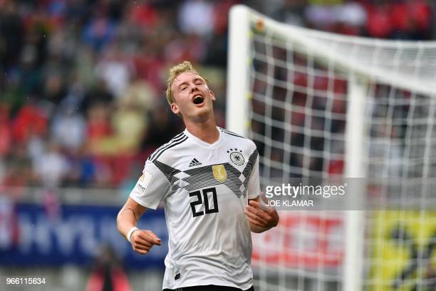 Germany's midfielder Julian Brandt reacts after missing an attempt on goal during the international friendly footbal match Austria v Germany in...