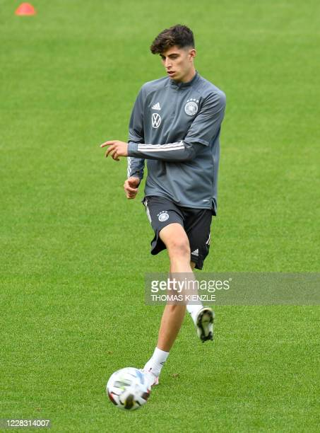Germany's midfielder Kai Havertz kicks the ball at a training session on September 2, 2020 in Stuttgart, southern Germany, on the eve of the UEFA...
