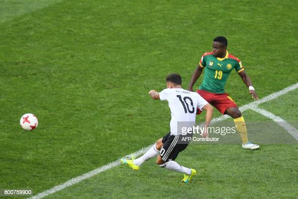 Germany's midfielder Kerem Demirbay scores a goal during the 2017 FIFA Confederations Cup group B football match between Germany and Cameroon at the...