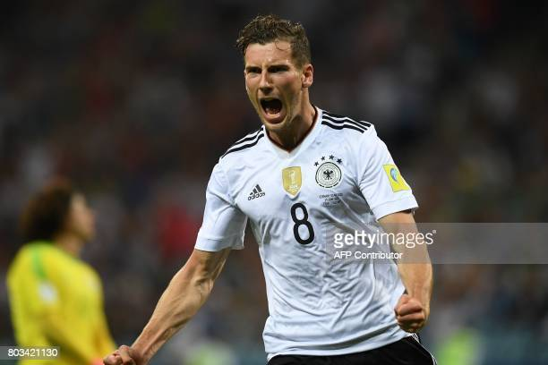 TOPSHOT Germany's midfielder Leon Goretzka celebrates after scoring a goal during the 2017 FIFA Confederations Cup semifinal football match between...