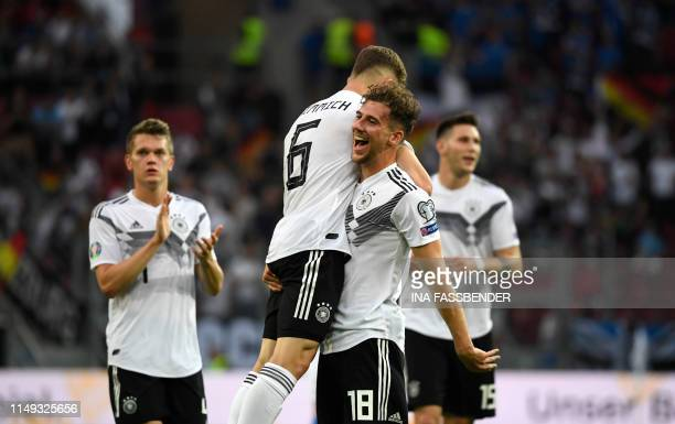 Germany's midfielder Leon Goretzka celebrates scoring the 30 goal with his teammates during the UEFA Euro 2020 qualifier Group C football match...
