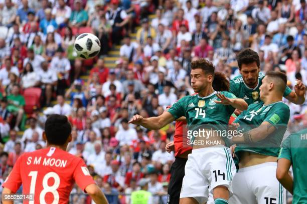 Germany's midfielder Leon Goretzka reacts after heading the ball during the Russia 2018 World Cup Group F football match between South Korea and...