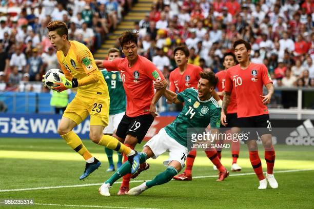 TOPSHOT Germany's midfielder Leon Goretzka reacts as he vies for the ball with South Korea's goalkeeper Cho Hyunwoo during the Russia 2018 World Cup...