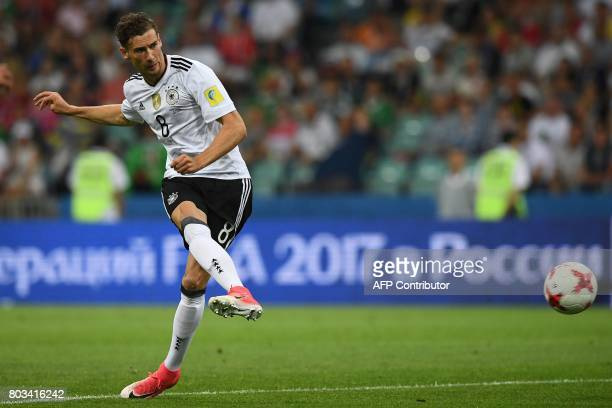 TOPSHOT Germany's midfielder Leon Goretzka scores his first goal during the 2017 Confederations Cup semifinal football match between Germany and...