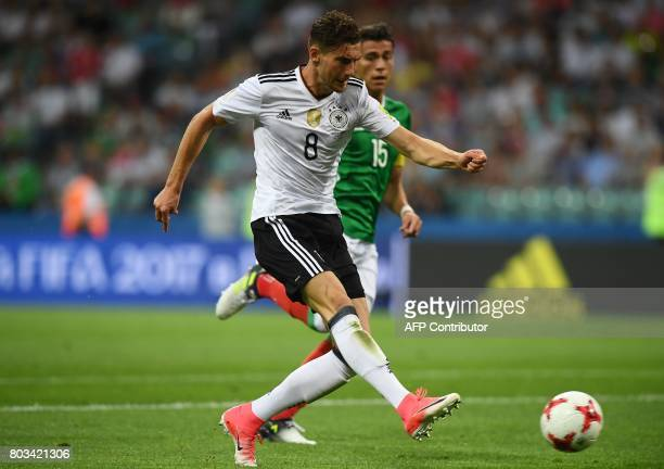 Germany's midfielder Leon Goretzka scores his team's second goal during the 2017 FIFA Confederations Cup semifinal football match between Germany and...