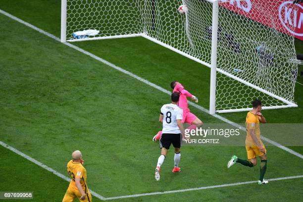 TOPSHOT Germany's midfielder Leon Goretzka shoots to score a goal during the 2017 Confederations Cup group B football match between Australia and...