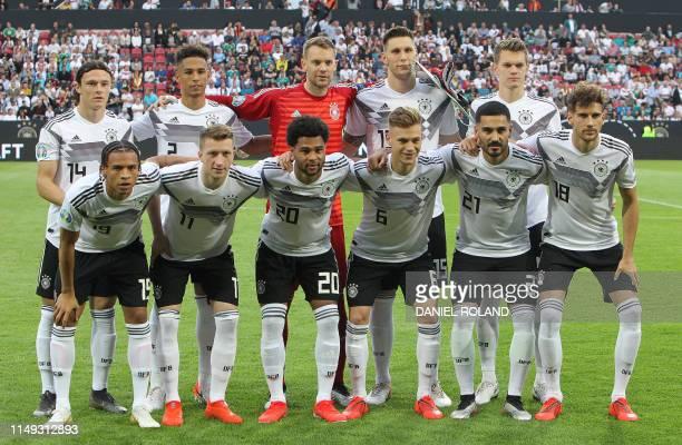 Germany's midfielder Leroy Sane Germany's forward Marco Reus Germany's forward Serge Gnabry Germany's midfielder Joshua Kimmich Germany's midfielder...