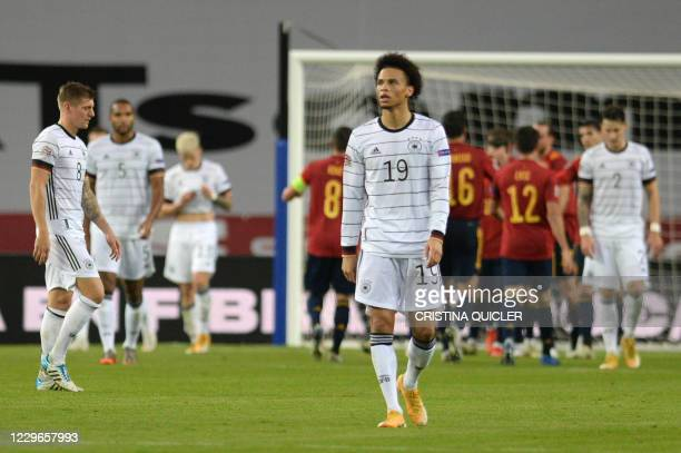 Germany's midfielder Leroy Sane reacts to Spain's fourth goal scored by Spain's midfielder Ferran Torres during the UEFA Nations League footbal match...