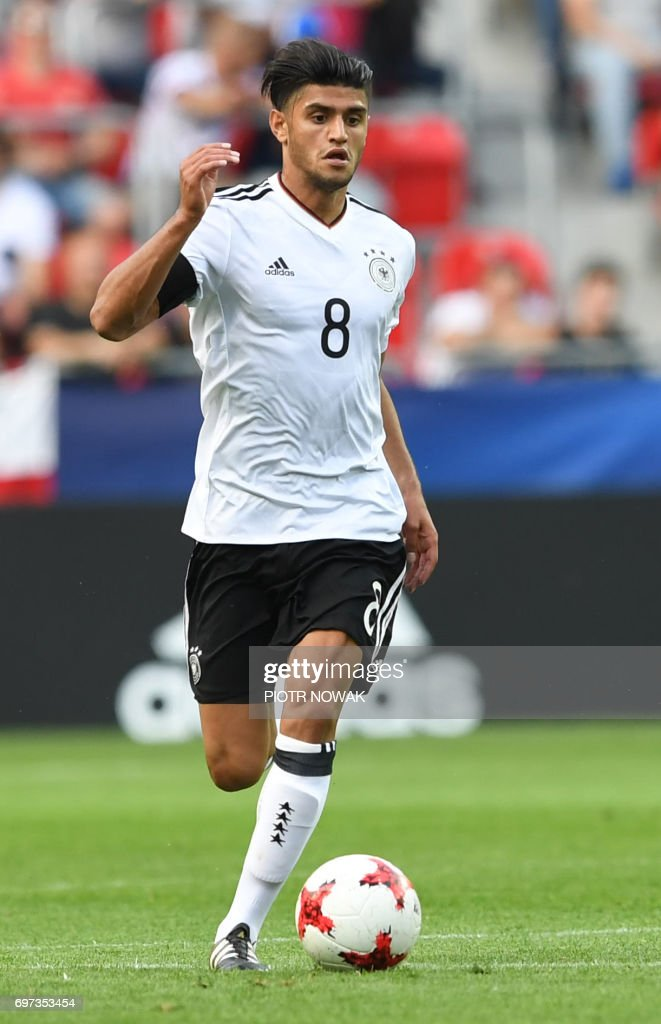Germany's midfielder Mahmoud Dahoud play the ball during the UEFC U-21 European Championship Group C football match Germany vs Czech Republic in Tychy, Poland on June 18, 2017. /