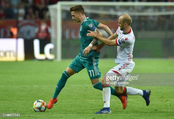 Germany's midfielder Marco Reus in action during the Euro 2020 football qualification match between Belarus and Germany in Borisov outside Minsk on...