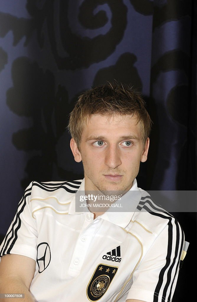 Germany's midfielder Marko Marin speaks to a journalist during a so-called media day at the Verdura Golf and Spa resort, near Sciacca May 19, 2010. The German team is currently taking part in a 'Regeneration' camp in Sicily to prepare for the upcoming FIFA Football World Cup in South Africa.