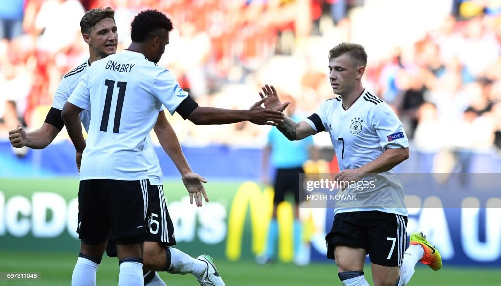 Germany's midfielder Max Meyer (R) celebrates scoring the opening goal with his teammate Serge Gnabry during the UEFA U-21 European Championship Group C football match Germany v Czech Republic in Tychy, Poland on June 18, 2017. /