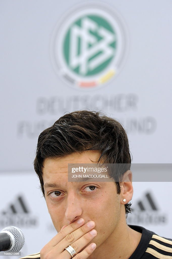 Germany's midfielder Mesut Oezil addresses a press conference in Appiano, near the north Italian city of Bolzano May 25, 2010. The German football team is currently taking part in a 12-day training camp in Appiano to prepare for the upcoming FIFA Football World Cup in South Africa.