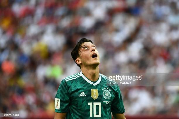 TOPSHOT Germany's midfielder Mesut Ozil reacts during the Russia 2018 World Cup Group F football match between South Korea and Germany at the Kazan...