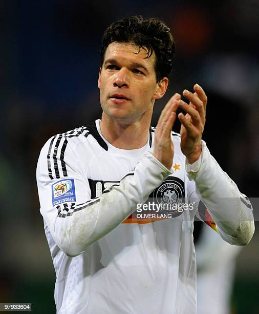 Germany's midfielder Michael Ballack applauds after their their football World Cup 2010 qualifying match Germany vs Liechtenstein on March 28 2009 in...