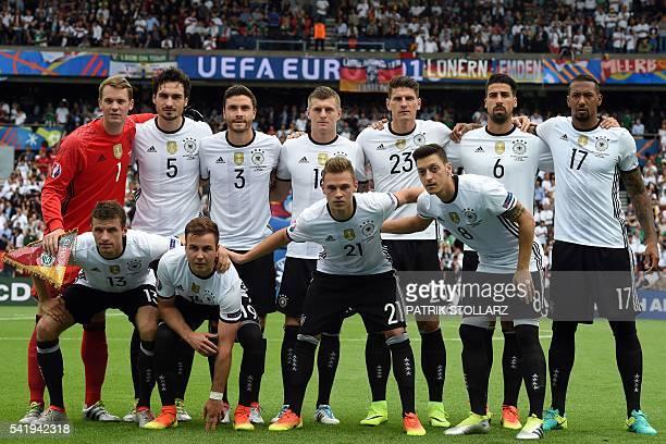 Germany's midfielder Thomas Mueller Germany's forward Mario Goetze Germany's midfielder Joshua Kimmich and Germany's midfielder Mesut Oezil and...