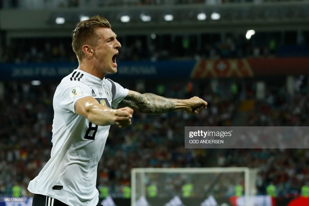 TOPSHOT - Germany's midfielder Toni Kroos celebrates after scoring a goal during the Russia 2018 World Cup Group F football match between Germany and Sweden at the Fisht Stadium in Sochi on June 23, 2018. (Photo by Odd ANDERSEN / AFP) / RESTRICTED
