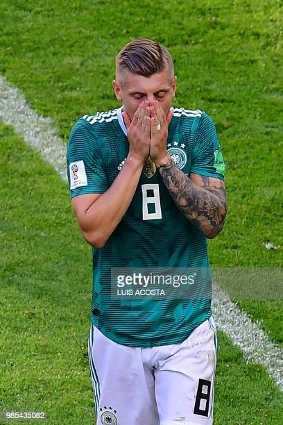 TOPSHOT Germany's midfielder Toni Kroos reacts during the Russia 2018 World Cup Group F football match between South Korea and Germany at the Kazan...