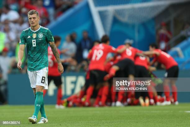 TOPSHOT Germany's midfielder Toni Kroos reacts following his team's loss during the Russia 2018 World Cup Group F football match between South Korea...
