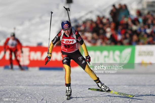 Germany's Miriam Goessner finishes the sprint race of the Women's biathlon World Cup on January 17 2013 in AntholzAnterselva AFP PHOTO / PIERRE...