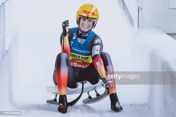 Germany's Natalie Geisenberger celebrates after winning the women's singles competition of the Luge World Cup at the Olympia Eiskanal in Innsbruck,...